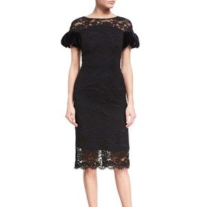 Monique Lhuillier Corded Lace Puff-Sleeve Cocktail